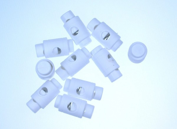cord stopper - zylindric form for 5mm cords - white - 10 pieces