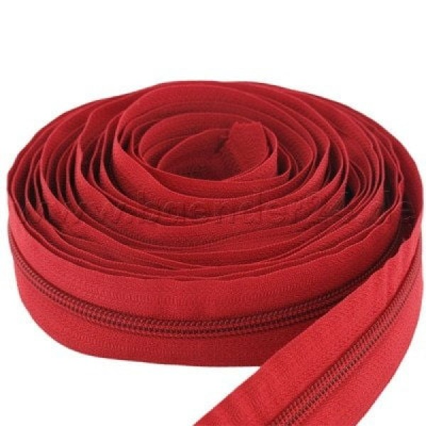 5m slide fastener, 8mm rail, color: red