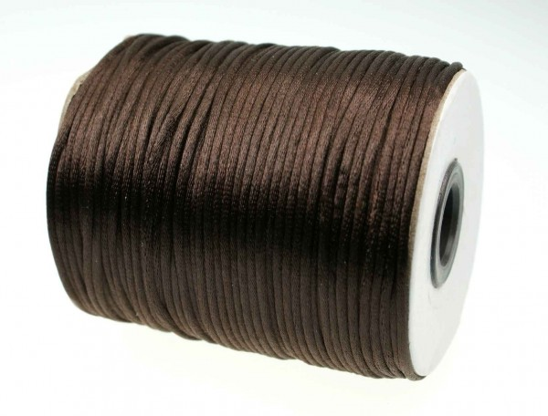 100m roll satin cord - 2mm thick - color: dark brown