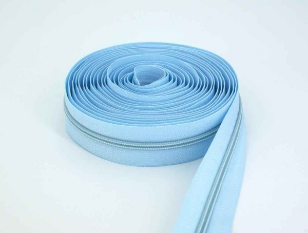 5m slide fastener, 5mm rail, color: light blue