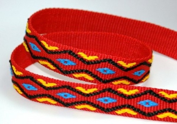50m roll 4-colored PP webbing - blue/yellow/black on red webbing - 25mm wide