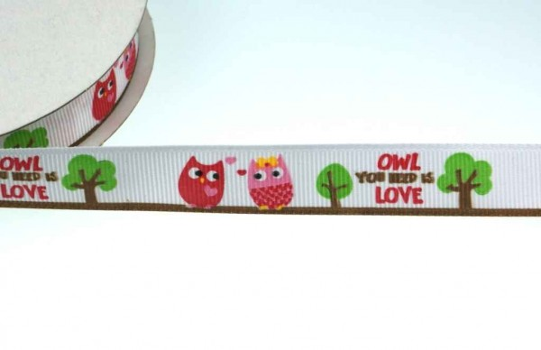 27m printed webbing made of polyester, 15mm wide, owls in love