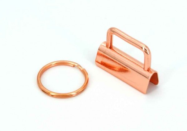 25mm clamp lock for key fob - rose gold - 100 pieces