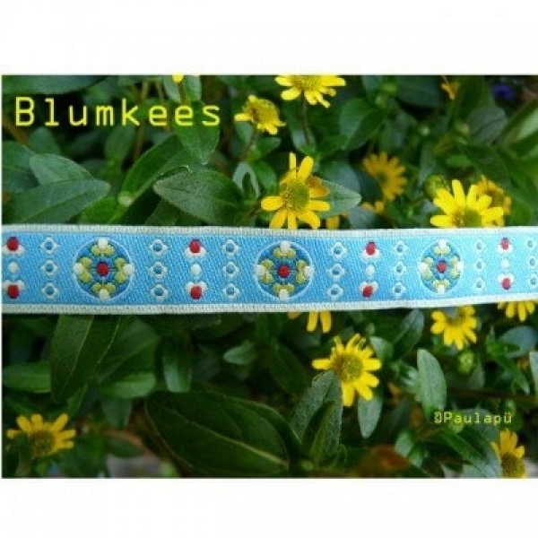 1m Webband Design by paulapü - 12mm breit - Blumkees himmelblau