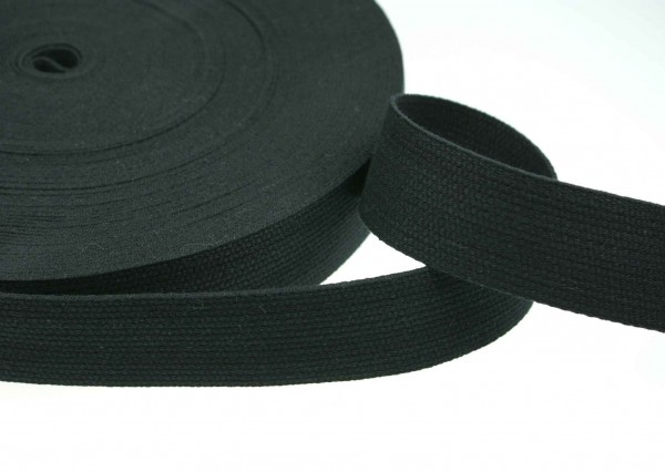 1m cotton webbing - 1,2mm thick - 30mm wide - color: black