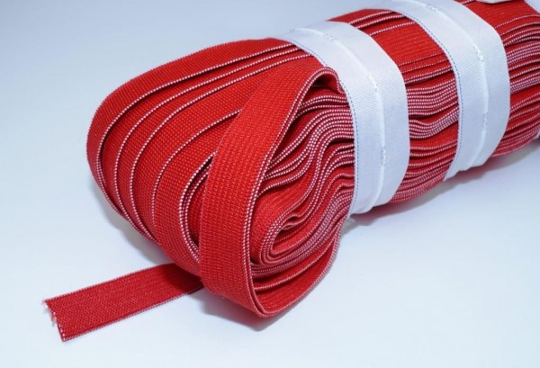 15mm wide elastic webbing made of polyester - 50m roll - red