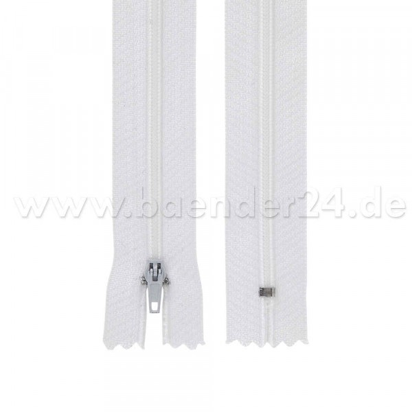 25 zip fastener, 3mm, 20cm long, color: white