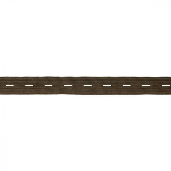 buttonhole elastic webbing - colour: chocolate brown - 20mm wide - 3m length