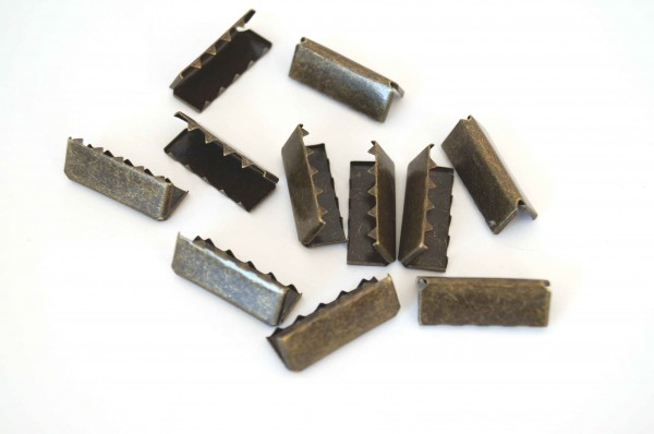 webbing ends made of metal - 25mm wide - color: bronze - 10 pieces
