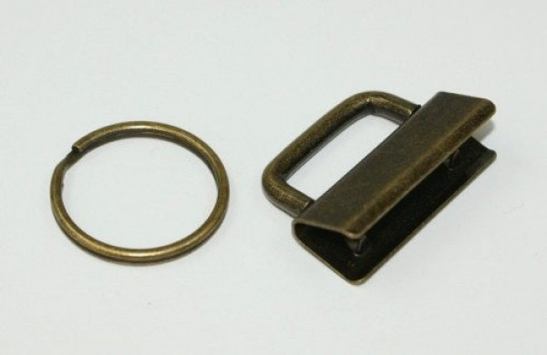 clamp lock for key fob, for 30mm wide webbing - antique - 1 piece