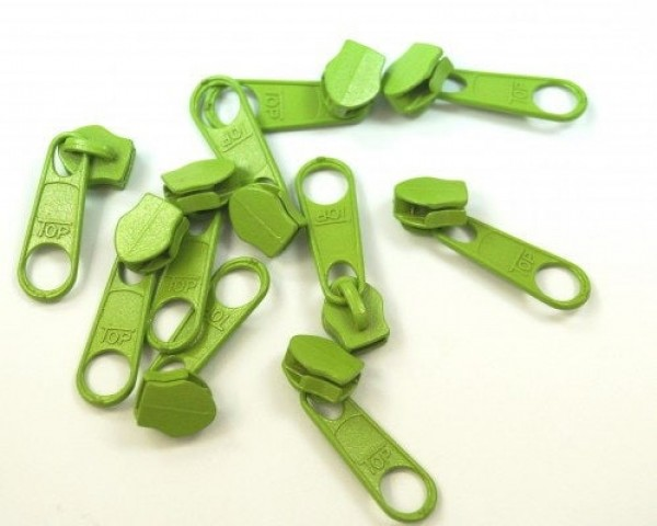 slider for 3mm zippers, color: apple green - 10 pieces