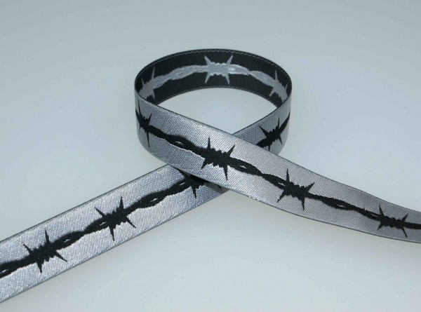 1m webbing design by Haendisch-design, 15mm wide, barbed wire silver