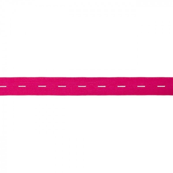 buttonhole elastic webbing - colour: neon pink - 20mm wide - 3m length