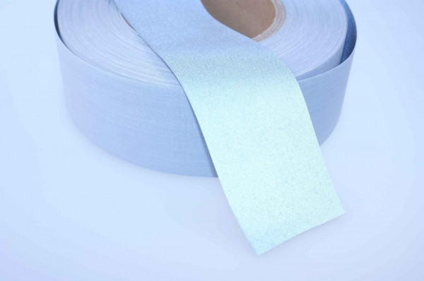 50m reflective webbing 50mm wide - silver - for sewing on - certified as EN ISO 20471:2013