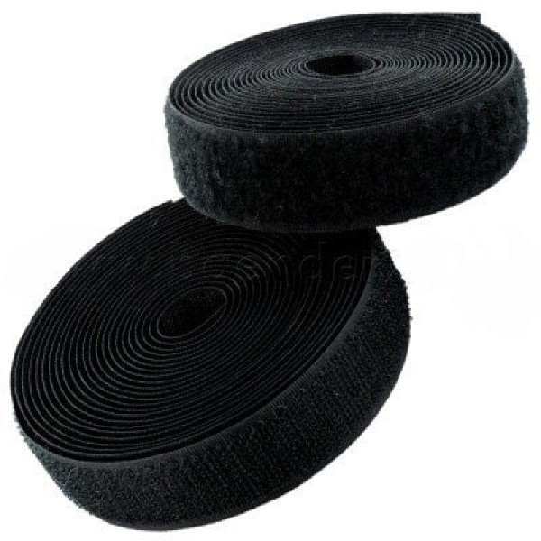 25m Velcro tape, 25mm wide, color: black, 25mm wide, 25m roll