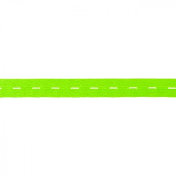 buttonhole elastic webbing - colour: neon green - 20mm wide - 3m length