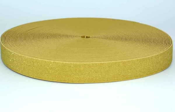 elastic webbing with glitter - colour: gold - 25mm wide - 3m length