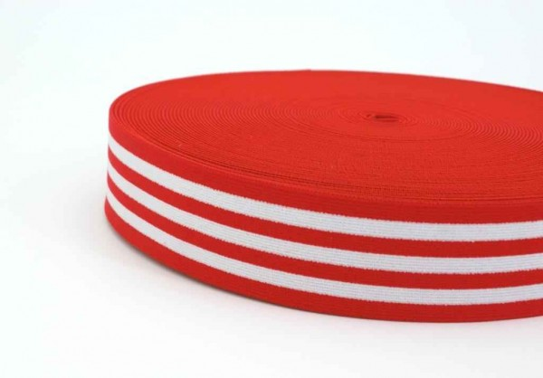 elastic webbing striped - 40mm wide - color: red / white - 3m roll