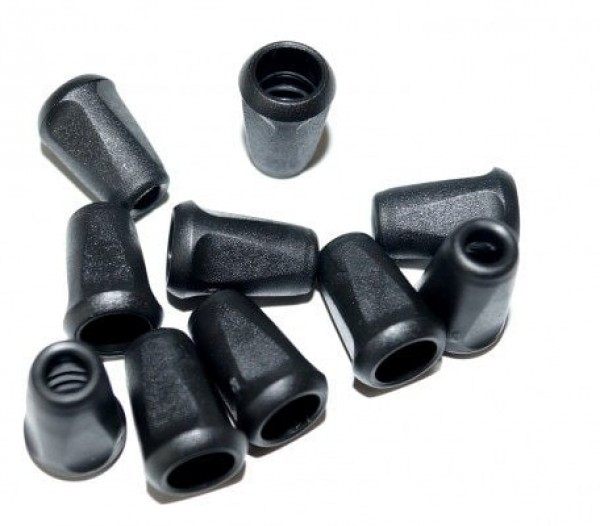 cord ends - for cords up to 4mm thickness - black - 10 pieces