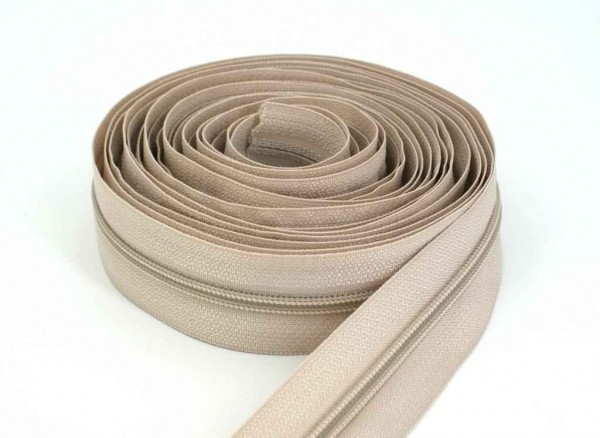 5m zip fastener, 5mm strip, Color: natural