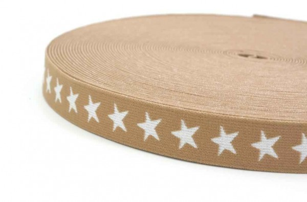 elastic webbing with stars - 20mm wide - color: sand - 3m roll