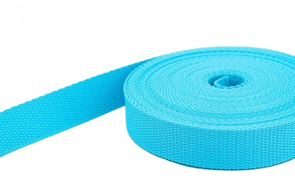 10m PP webbing - 10mm width - 1,4mm thick - turquoise (UV)