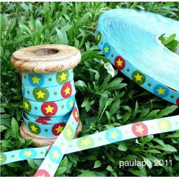 3m roll webbing design by paulapü, 12mm wide, STARdotzz, turquoise
