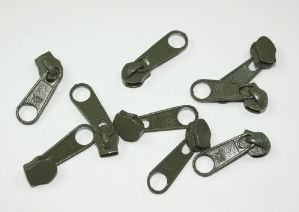 Slider for slide fastener with 5mm rail, color: khaki - 10 pieces