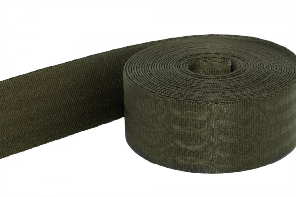 50m safety belt - khaki - polyamide, 38mm wide - loadable up to 1,5t