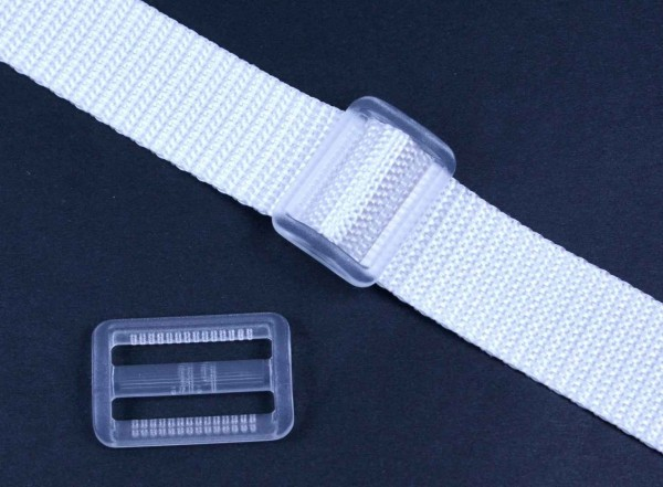 25mm strap adjuster - white transparent - 5 pieces