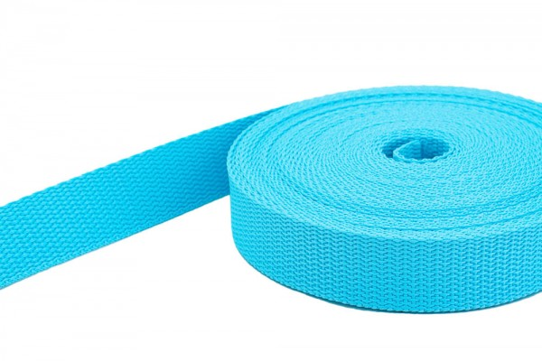 50m PP webbing - 10mm width - 1,4mm thick - turquoise(UV)