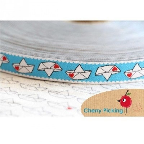 5m Rolle Webband Design by Cherry Picking, 15mm breit, Love Boat