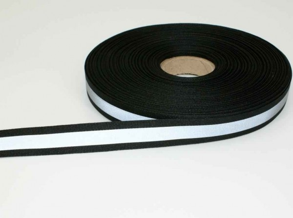 50m reflective ribbon 20mm wide - black - for sewing on