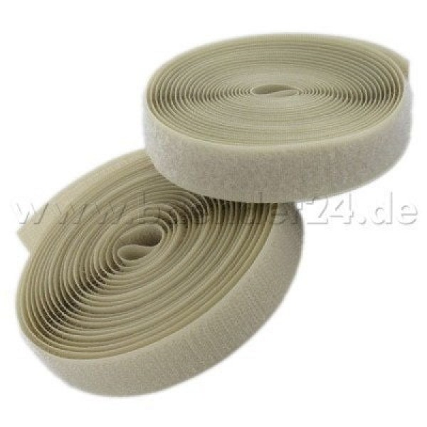 4m Velcro (Velcro & Hook) 25mm wide, color: natur - for sewing