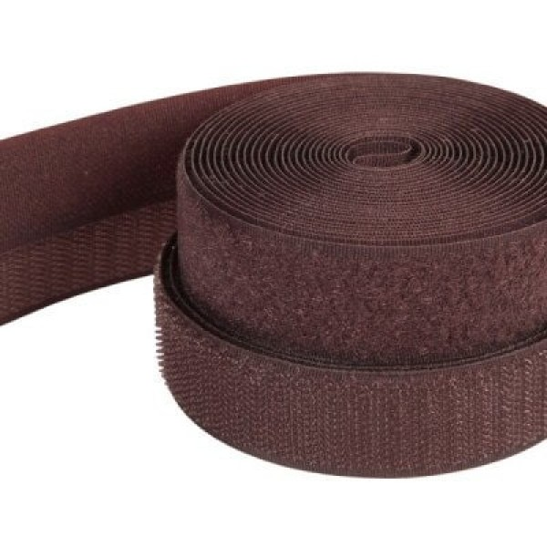 4m Velcro (Velcro & Hook) 38mm wide, color: dark brown - for sewing