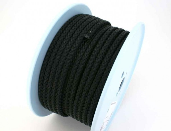 polyester braided cord - 8mm thick - black - 50m roll
