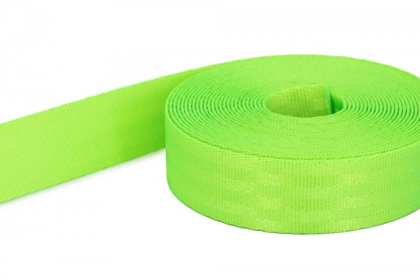 50m safety belt - neon green - polyamide, 25mm wide - loadable up to 1t