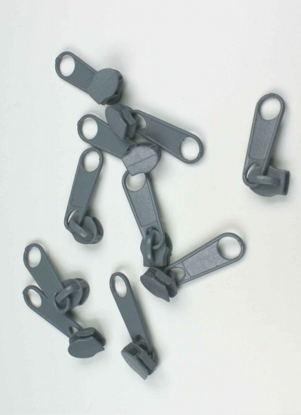 Slider for slide fastener with 5mm rail, color: gray - 10 pieces