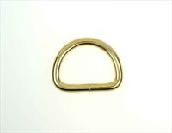 40mm D-ring non-welded made of steel, brass-colored - 10 pieces