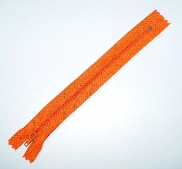 25 zippers 3mm, 18cm length, color: orange