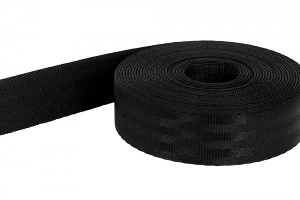 1m safety belt - black - polyamide, 25mm wide - loadable up to 1t