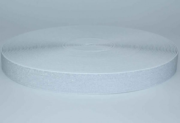 elastic webbing with glitter - colour: white - 25mm wide - 3m length