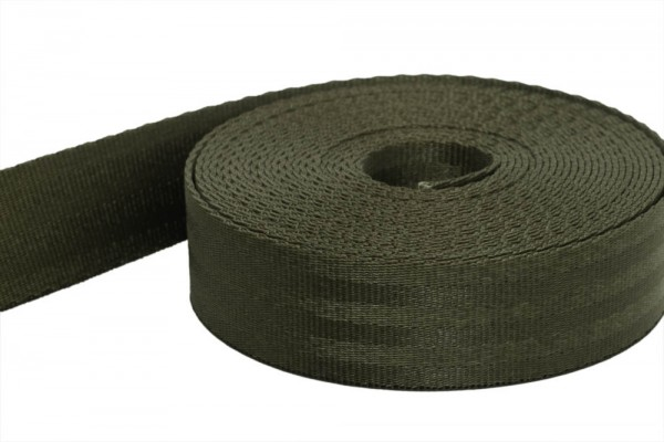 50m safety belt - khaki - polyamide, 25mm wide - loadable up to 1t