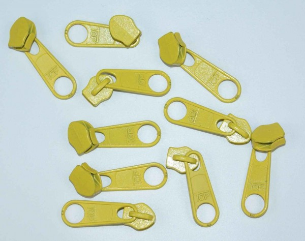Slider for slide fastener with 5mm rail, color: yellow - 10 pieces