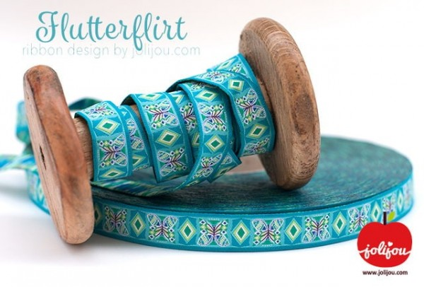 1m webbing design by jolijou, 15mm wide, flutterflirt turquoise