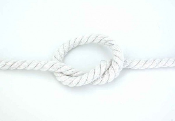 5m cotton cord, twisted - colour: white - 8mm thick