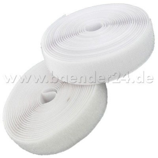 25m Velcro tape, 20mm wide, color: white, 20mm wide, 25m roll