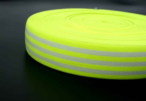 elastic webbing striped - 40mm wide - color: neon yellow / white - 3m roll