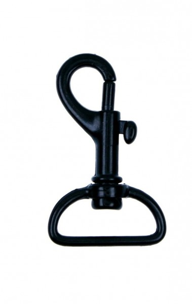 snap carabiner 4,4cm made of zinc die casting, black, for 20mm webbing - 1 pieces