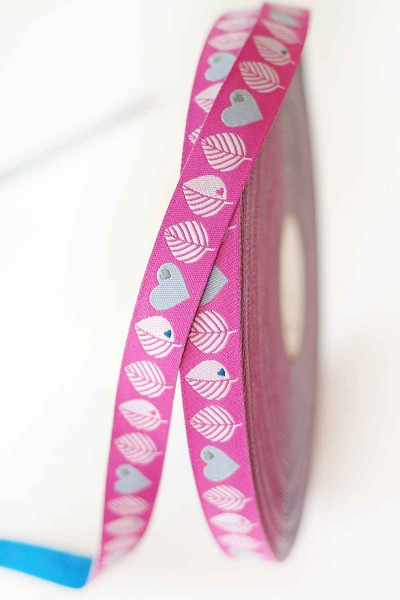 5m roll webbing Design by Graziela - 15mm wide, leaves pink